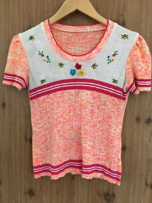 Vintage Retro Flower Cropped Knit Sweater Embroidered Mod Baby Doll Unique