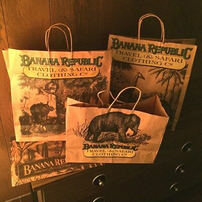 Banana Republic Safari vintage paper retail shopping bags from the 1980's - 90's