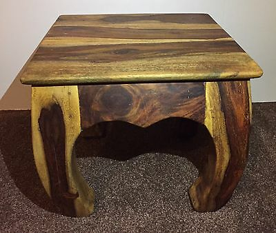 Wooden  small side table stool lamp plant stand Acacia.