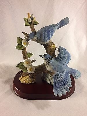 Blue Jay Figurine by JSC with wooden base