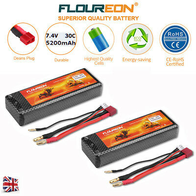 2x 2S 7.4V 30C 5200mAh LiPo Battery Deans for RC Car Airplane Helicopter Truck