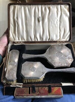 Solid Silver Cased Vanity Set