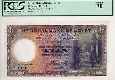 Egypt 10 pound 1948 National Bank X/123  LEITH ROSS sign. pick#23c  VF 30