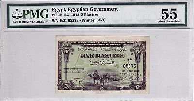 Egypt 5 piastres 1918  2nd. issue  E/31 YOUSEF WAHBA sign. pick#162 AUNC 55