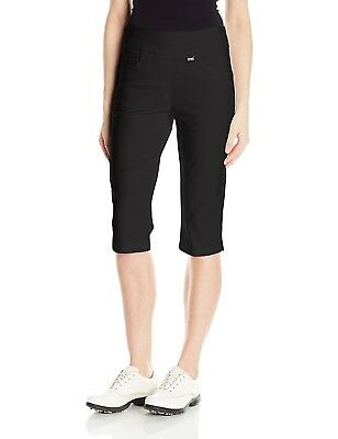 (Size 4, Black) - EP Pro Golf Women's Bi-Stretch 70cm Pull On Pedal Pusher