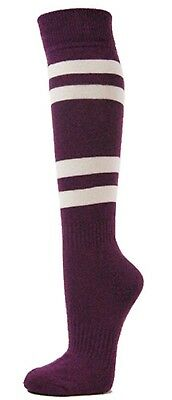 (Large, Purple) - Couver White Striped Knee High Softball/Sports Socks
