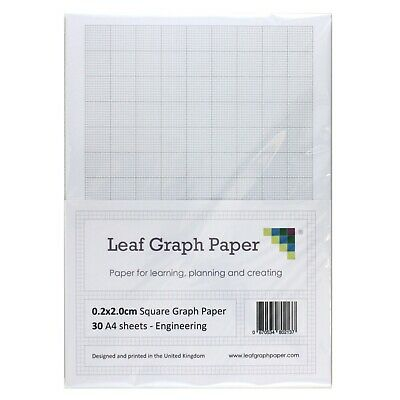 A4 Graph Paper Pack, 0.2cm 2mm Square Eng, 30 Loose-Leaf Sheets, Grey Grid Lines