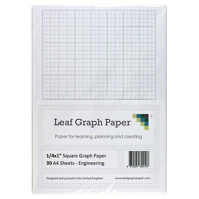 "A4 Imperial Graph Paper Pack, 1/4"" 0.25 inch Square, 30 Loose-Leaf Sheets, Grey"