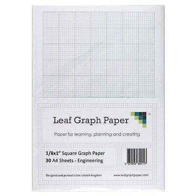 "A4 Imperial Graph Paper Pack, 1/8"" 0.125 inch Square, 30 Loose-Leaf Sheets, Grey"