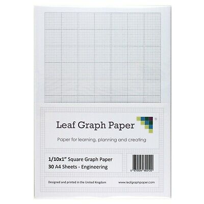 "A4 Imperial Graph Paper Pack, 1/10"" 0.1 inch Square, 30 Loose-Leaf Sheets, Grey"