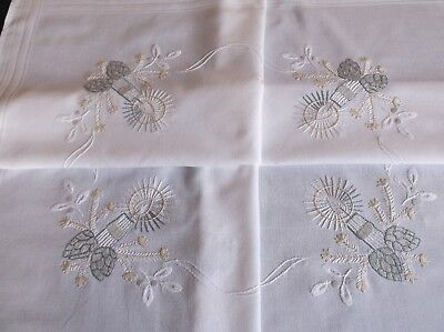 VINTAGE HAND EMBROIDERED WHITE COTTON CHRISTMAS TABLE CLOTH 75 x 75cms