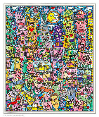 """XXL Original James Rizzi Pigmentdruck auf Leinwand """"Getting the most out of life"""