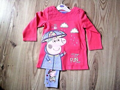 Girls Peppa/Pepper Pig Long Sleeve Dress Top & Leggings Set 1-1.5-2-3-4-5 Years