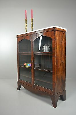 Antique Rosewood Glazed Marble Top Bookcase Cabinet
