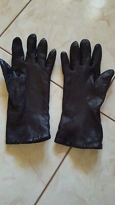 Vintage Brown leather gloves with cashmere lining