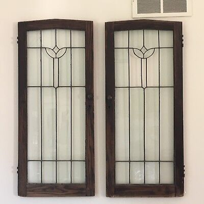 Antique leaded glass windows vintage set 2