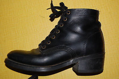 vintage 50's 60's Black Leather Work motorcycle Combat ankle Boots Womens 7M
