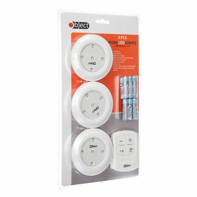 3 Remote Control Wall Ceiling Wireless Round LED Lights Kitchen Bathroom Cabinet