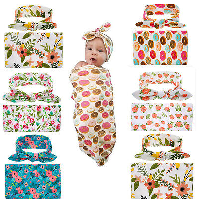 AU Stock Newborn Baby Floral Swaddle Wrap Bassine Swaddling Sleeping Bag Blanket