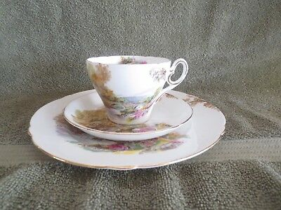 Shelley Bone China England Trio Heather Pattern Cup & Saucer w/ Underplate