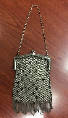 Vintage Mesh Whiting And Davis Silver Tone Evening Bag