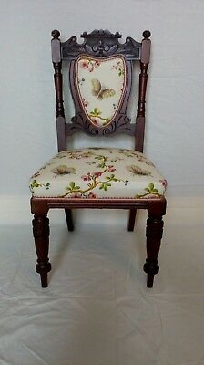 Victorian hall/bedroom chair. Ornate calving. Traditionally stitched