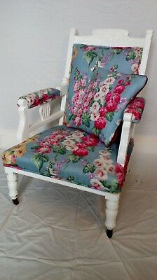 Edwardian painted armchair. Vibrant fabric with double pipe finish