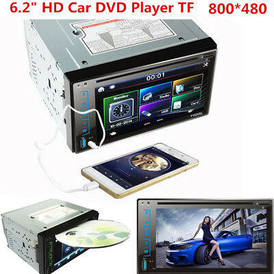 "6.2"" Hd 2 Din Autoradio Stereo Auto Dvd Mp3 Lettore Bt Fm Sd Touch Screen Aux Eu"