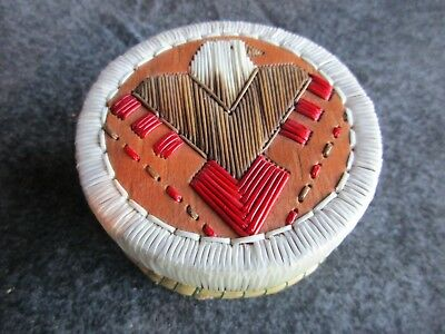 Native American Quill Beaded Birch Basket, Signed Indian Basket  Chi-01769
