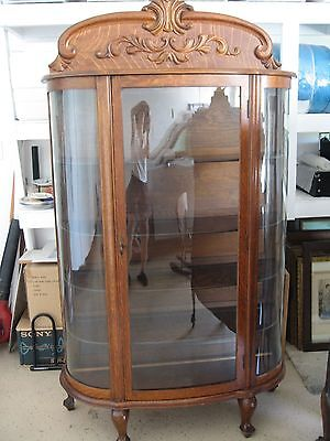 Antique Victorian Oak Curved Glass Curio Cabinet