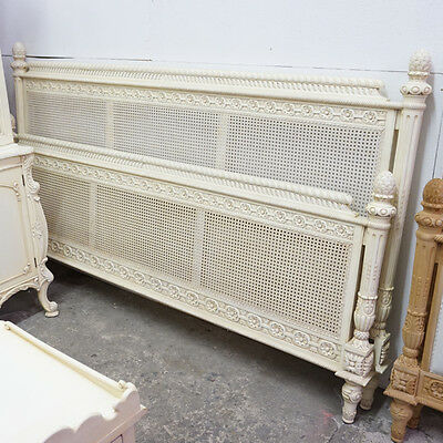 French King size bed headboard, rails and footboard in White with rattan back