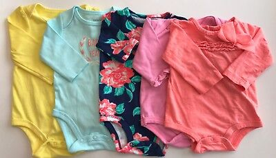 Baby Girl Clothes Lot Of 5 Bodysuit Long Sleeve 3-6 Months Circo Carter's