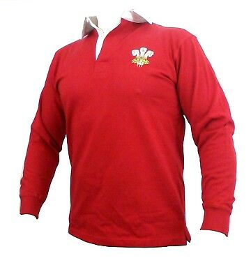 (36-38 Small) - Wales Welsh Traditional Long Sleeve Rugby Shirt