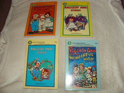 Raggedy Ann and Andy 4 Book Set, 1977, By Johnny Gruelle, Dell Publishing SC's