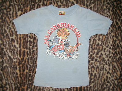 Vintage 1980s Kids All Canadian Kid Iron-On T-Shirt Hockey Beaver Flag Youth 6