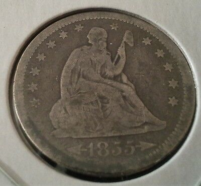1855 Liberty Seated Quarter Dollar 25c Silver - Nice Coin.