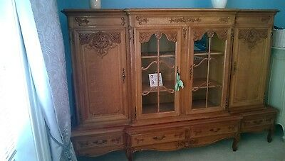 Antique Oak Glass Display Cabinet.