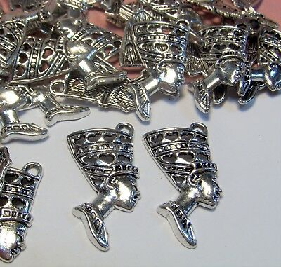 Silver Nefertiti Pendants-Ancient Egyptian Queen-30 Pcs-Findings-Drops-Jewelry