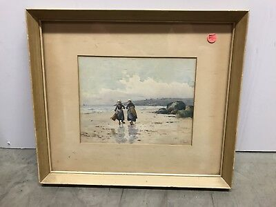 Vintage French Two girls walking on beach. Signed watercolor