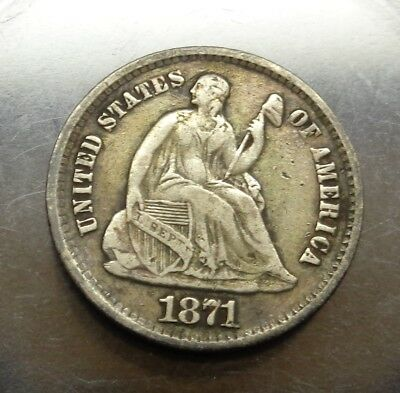 Sharp Very Fine++ to XF toned 1871 P Seated Liberty silver 5C half dime