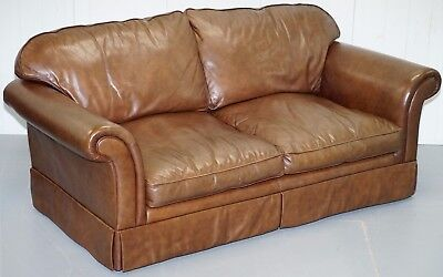 1 Of 2 Rrp £2399 Laura Ashley Vintage Brown Leather Large 2.5 Seater Sofas