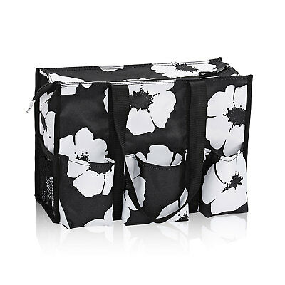 Thirty One Zip Top Organizing Utility Tote  WHITE POPPY