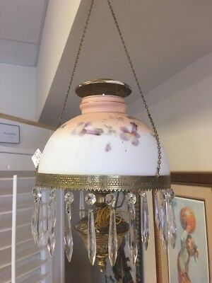 Gorgeous Victorian Hanging Parlor Lamp Hand Painted Shade Crystal Prisms