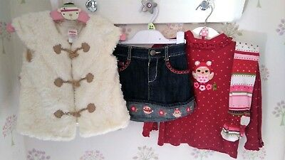 Gymboree Christmas Holidays Cozy Owl Shirt Gilet Skirt Tights 18-24  EUC Next DP