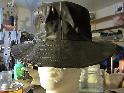 Original HandCrafted Black Leather True Vintage 70s Floppy Lined Stylish Top Hat