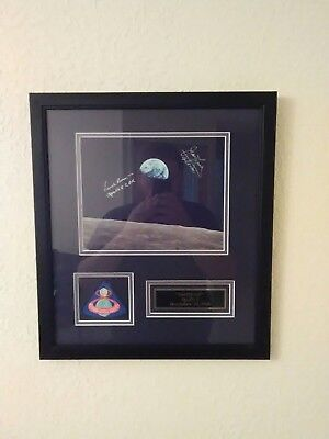 Apollo 8 Earthrise Signed Autographs framed James Lovell Frank Borman with patch