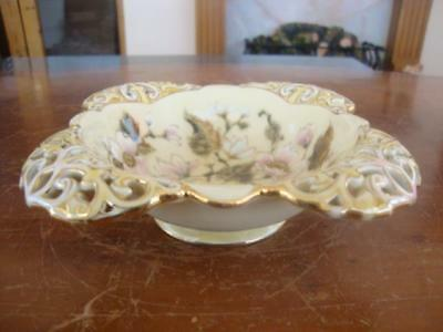 Fine Antique Zsolnay Pecs Porcelain Reticulated Dish.  C1885.