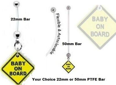 Baby On Board Maternity Belly Ring 14g Dangle Flexible Pregnancy Belly Ring