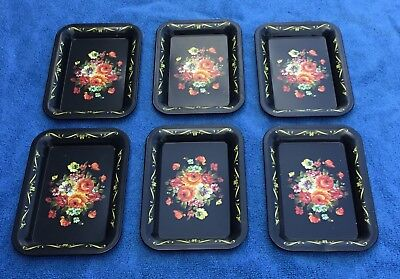Vintage Tole Painted Black Floral Set of 6 Small Trays