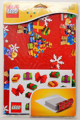 LEGO 851407 NEW 2 SHEETS CHRISTMAS WRAPPING PAPER with STICKERS LEGO BRICKS